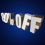 80 percent off 3d letters on blue background. 80 percent off letters on blue background. 3d render stock illustration