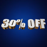 30 percent off 3d letters on blue background. 30 percent off letters on blue background. 3d render Stock Photos