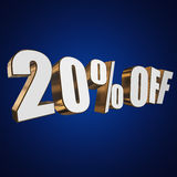 20 percent off 3d letters on blue background. 20 percent off letters on blue background. 3d render Royalty Free Stock Images