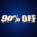90 percent off 3d letters on blue background. 90 percent off letters on blue background. 3d render vector illustration