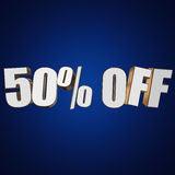 50 percent off 3d letters on blue background. 50 percent off letters on blue background. 3d render Royalty Free Illustration