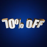 70 percent off 3d letters on blue background Royalty Free Stock Photo