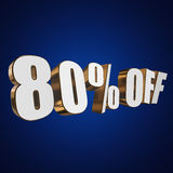80 percent off 3d letters on blue background. 80 percent off letters on blue background. 3d render Stock Images