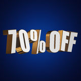 70 percent off 3d letters on blue background. 70 percent off letters on blue background. 3d render Stock Image