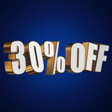 30 percent off 3d letters on blue background. 30 percent off letters on blue background. 3d render Stock Photography