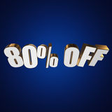 80 percent off 3d letters on blue background. 80 percent off letters on blue background. 3d render Stock Photos