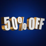 50 percent off 3d letters on blue background. 50 percent off letters on blue background. 3d render Royalty Free Stock Photo