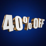 40 percent off 3d letters on blue background. 40 percent off letters on blue background. 3d render Royalty Free Stock Image