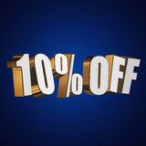 10 percent off 3d letters on blue background. 10 percent off letters on blue background. 3d render Royalty Free Stock Photography