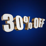 30 percent off 3d letters on blue background. 30 percent off letters on blue background. 3d render Royalty Free Stock Photo