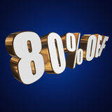 80 percent off 3d letters on blue background. 80 percent off letters on blue background. 3d render isolated Stock Photos