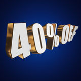 40 percent off 3d letters on blue background Royalty Free Stock Images