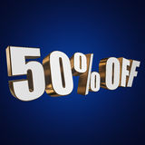 50 percent off 3d letters on blue background. 50 percent off letters on blue background. 3d render isolated Stock Illustration