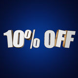 10 percent off 3d letters on blue background. 10 percent off letters on blue background. 3d render isolated Stock Photos