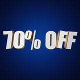 70 percent off 3d letters on blue background Royalty Free Stock Photography