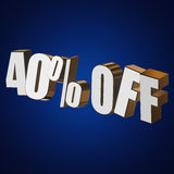 40 percent off 3d letters on blue background Royalty Free Stock Photos