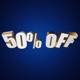 50 percent off 3d letters on blue background. 50 percent off letters on blue background. 3d render isolated Stock Photo