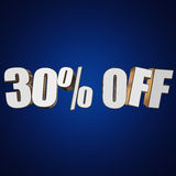 30 percent off 3d letters on blue background. 30 percent off letters on blue background. 3d render isolated Stock Photography