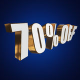 70 percent off 3d letters on blue background Royalty Free Stock Image