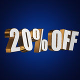 20 percent off 3d letters on blue background Royalty Free Stock Photo