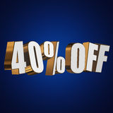 40 percent off 3d letters on blue background Royalty Free Stock Image