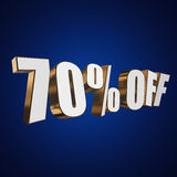 70 percent off 3d letters on blue background. 70 percent off letters on blue background. 3d render isolated Stock Photos