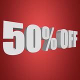 50 percent off 3d letters on red background. 50 percent off letters on red background. 3d render Stock Photo