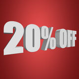 20 percent off 3d letters on red background. 20 percent off letters on red background. 3d render Stock Images