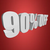 90 percent off 3d letters on red background. 90 percent off letters on red background. 3d render royalty free illustration