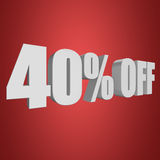 40 percent off 3d letters on red background Royalty Free Stock Photography