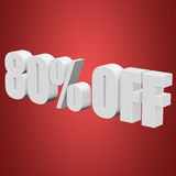 80 percent off 3d letters on red background. 80 percent off letters on red background. 3d render Royalty Free Stock Photography