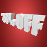 30 percent off 3d letters on red background. 30 percent off letters on red background. 3d render Stock Image
