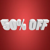 50 percent off 3d letters on red background. 50 percent off letters on red background. 3d render Royalty Free Stock Photos