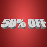 50 percent off 3d letters on red background. 50 percent off letters on red background. 3d render Stock Illustration