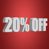 20 percent off 3d letters on red background. 20 percent off letters on red background. 3d render stock illustration