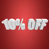 10 percent off 3d letters on red background. 10 percent off letters on red background. 3d render Royalty Free Stock Photos