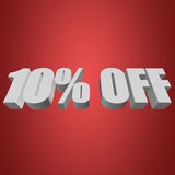 10 percent off 3d letters on red background. 10 percent off letters on red background. 3d render Stock Image