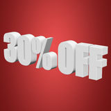 30 percent off 3d letters on red background. 30 percent off letters on red background. 3d render Royalty Free Stock Photos