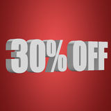 30 percent off 3d letters on red background. 30 percent off letters on red background. 3d render Royalty Free Stock Photography