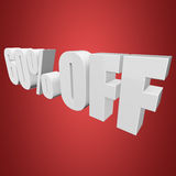 60 percent off 3d letters on red background. 60 percent off letters on red background. 3d render Stock Illustration