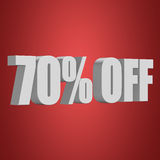 70 percent off 3d letters on red background Stock Image