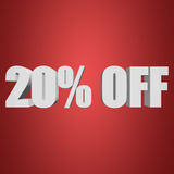 20 percent off 3d letters on red background. 20 percent off letters on red background. 3d render Stock Photos