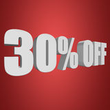 30 percent off 3d letters on red background. 30 percent off letters on red background. 3d render Stock Photos