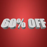 60 percent off 3d letters on red background. 60 percent off letters on red background. 3d render Royalty Free Illustration