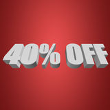 40 percent off 3d letters on red background Stock Photography
