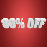 80 percent off 3d letters on red background. 80 percent off letters on red background. 3d render Royalty Free Stock Photo