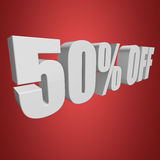 50 percent off 3d letters on red background. 50 percent off letters on red background. 3d render Royalty Free Illustration