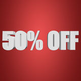 50 percent off 3d letters on red background. 50 percent off letters on red background. 3d render Stock Image