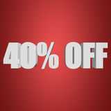 40 percent off 3d letters on red background Stock Image