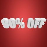 90 percent off 3d letters on red background. 90 percent off letters on red background. 3d render stock illustration